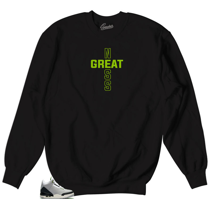 67576f5c9a48f4 Home Jordan 3 Chlorophyll Sweater - Greatness Cross - Black. Share