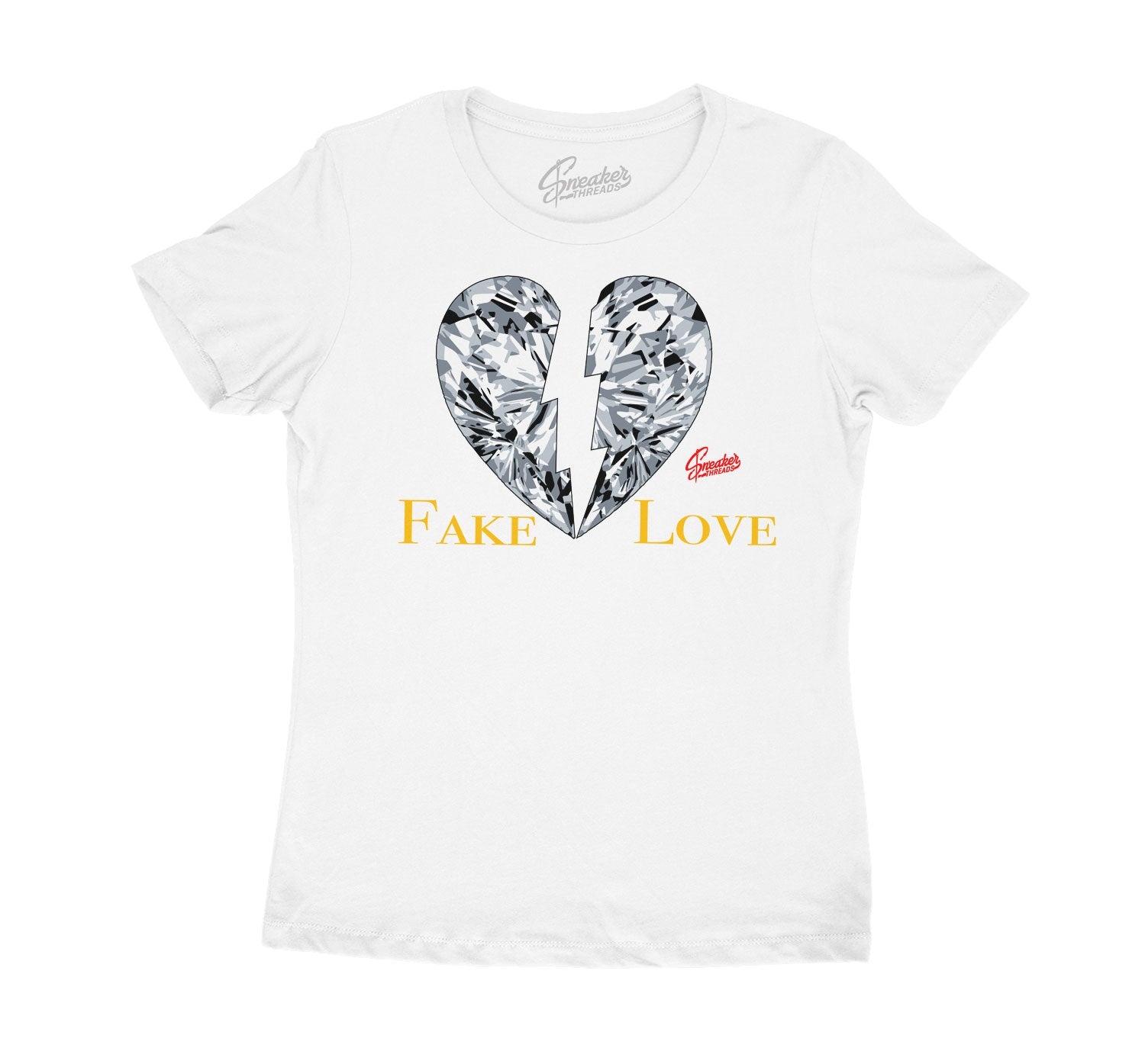 Womens Cool Grey 3 Shirt - Fake Love - White