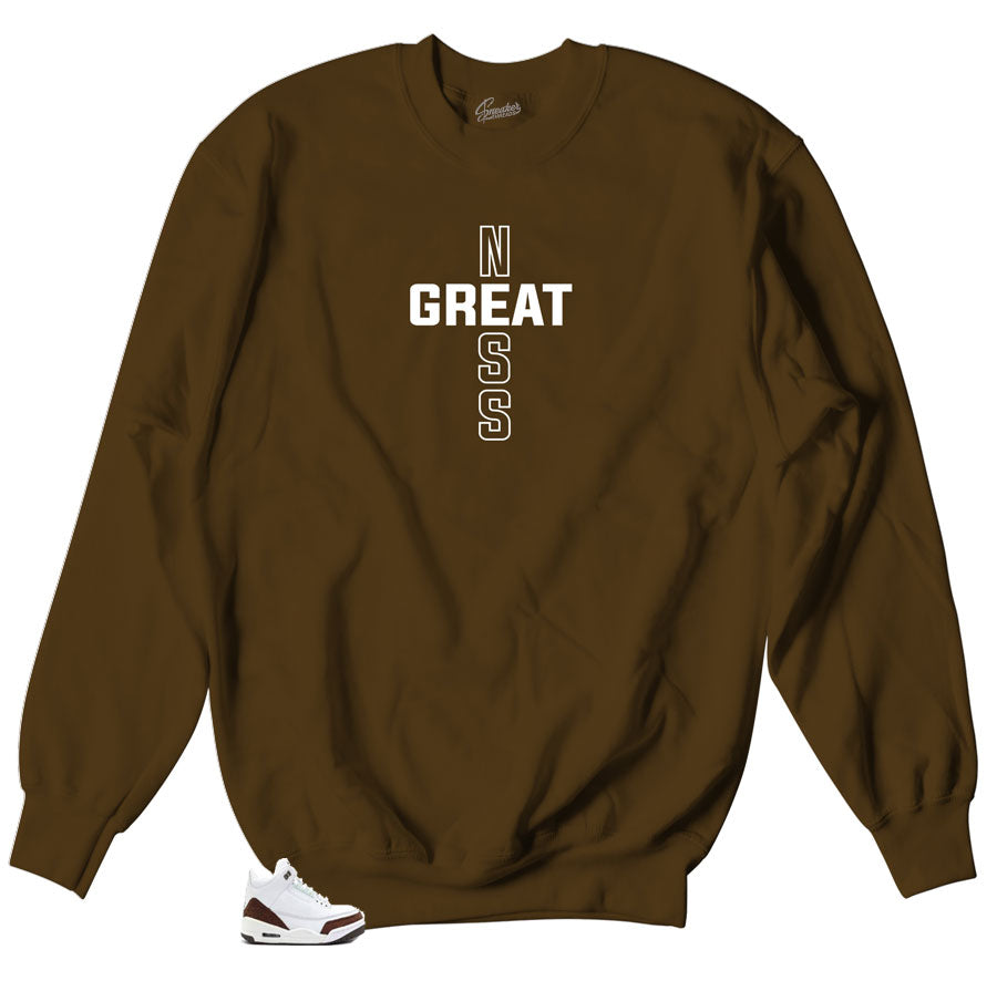 Mocha 3 Greatness Cross sweater to match perfect