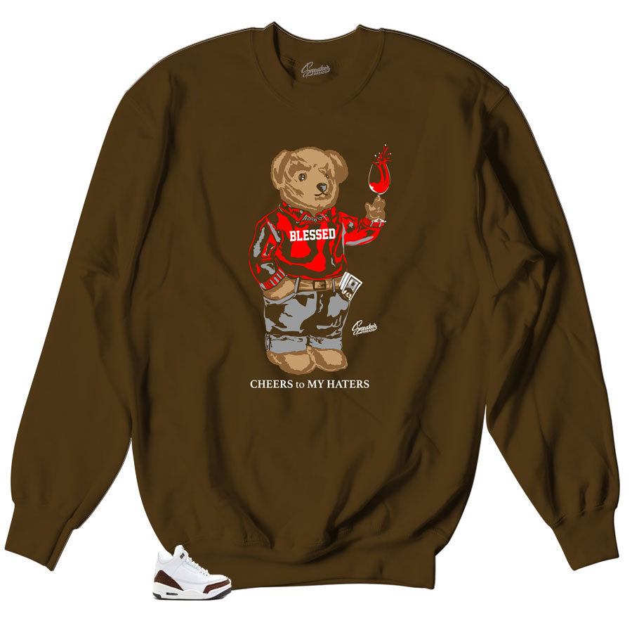 53f3bfc80b9e24 Home Jordan 3 Mocha Sweater - Cheers Bear - Brown. Share