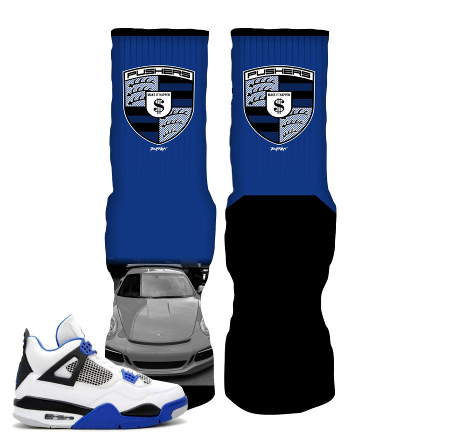 Elite socks match jordan 4 motorsports retro 4 sneakers.