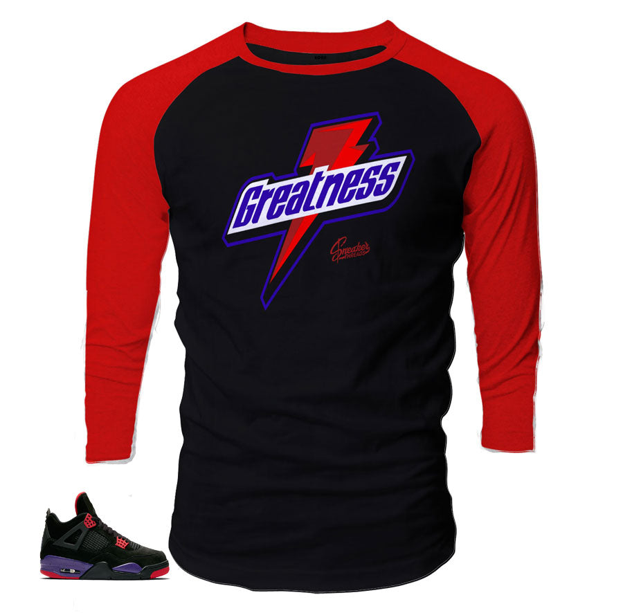 3370040f70b2 Home Jordan 4 Raptor Raglan Shirt - Greatness - Black. Share
