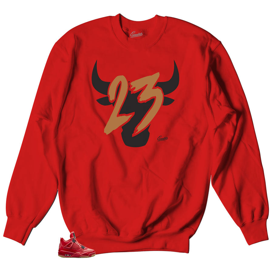 Toro red sweater to match Jordan 4 Singles sneakers
