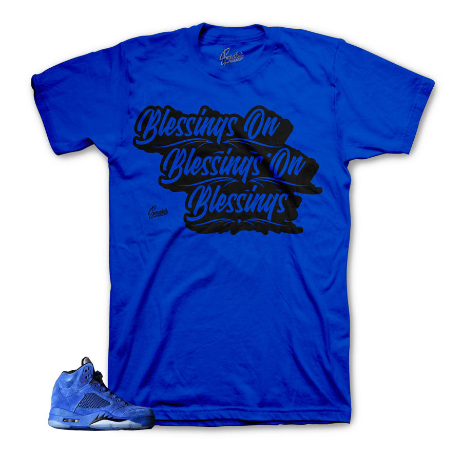 Sneaker shirts official | Blessings blue suede 5 tee.