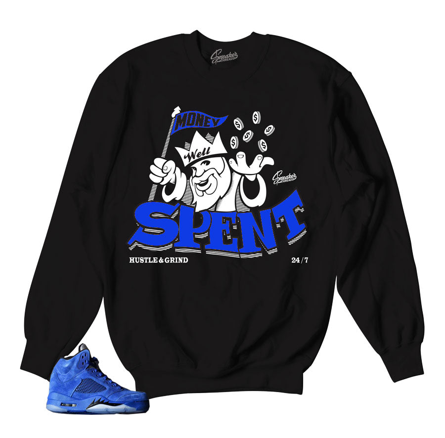 Jordan5 blue suede sweaters match retro 5's crewnecks.