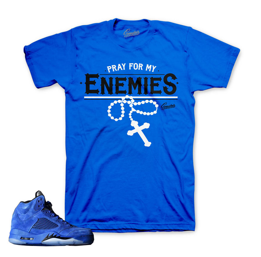 Jordan 5 blue suede tee match retro 5's ice blue shirts.