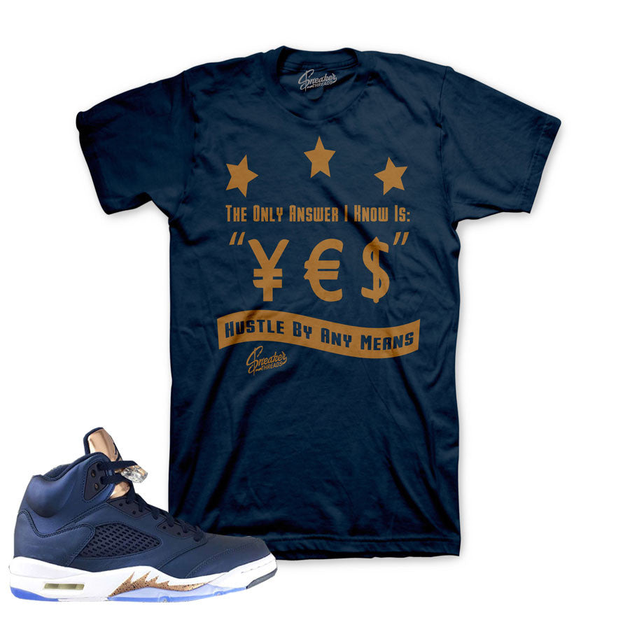 separation shoes b14e4 65d1e Jordan 5 Bronze Shirt - Answer - Navy