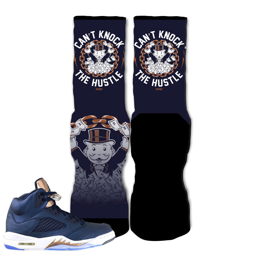 Jordan 5 Bronze Tongue Socks - Can't Knock Hustle