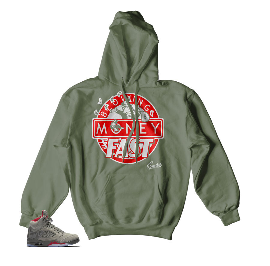 Jordan 5 Camo Hoody - Blowing Money Fast - Olive