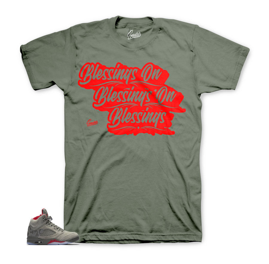Dark stucco Jordan 5 shirts match | Blessings on blessings tee.