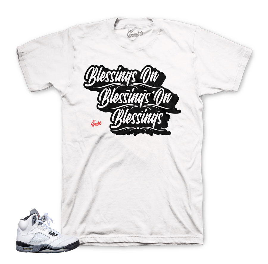 Blessing on blessing shirt to match jordan and foam shoes.
