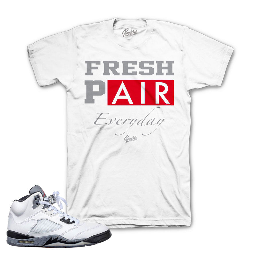 b9a21a91c013 ... Jordan 5 Cement Shirt - Fresh Pair - White Jordan 5 GS wolf grey shirts  match retro ...