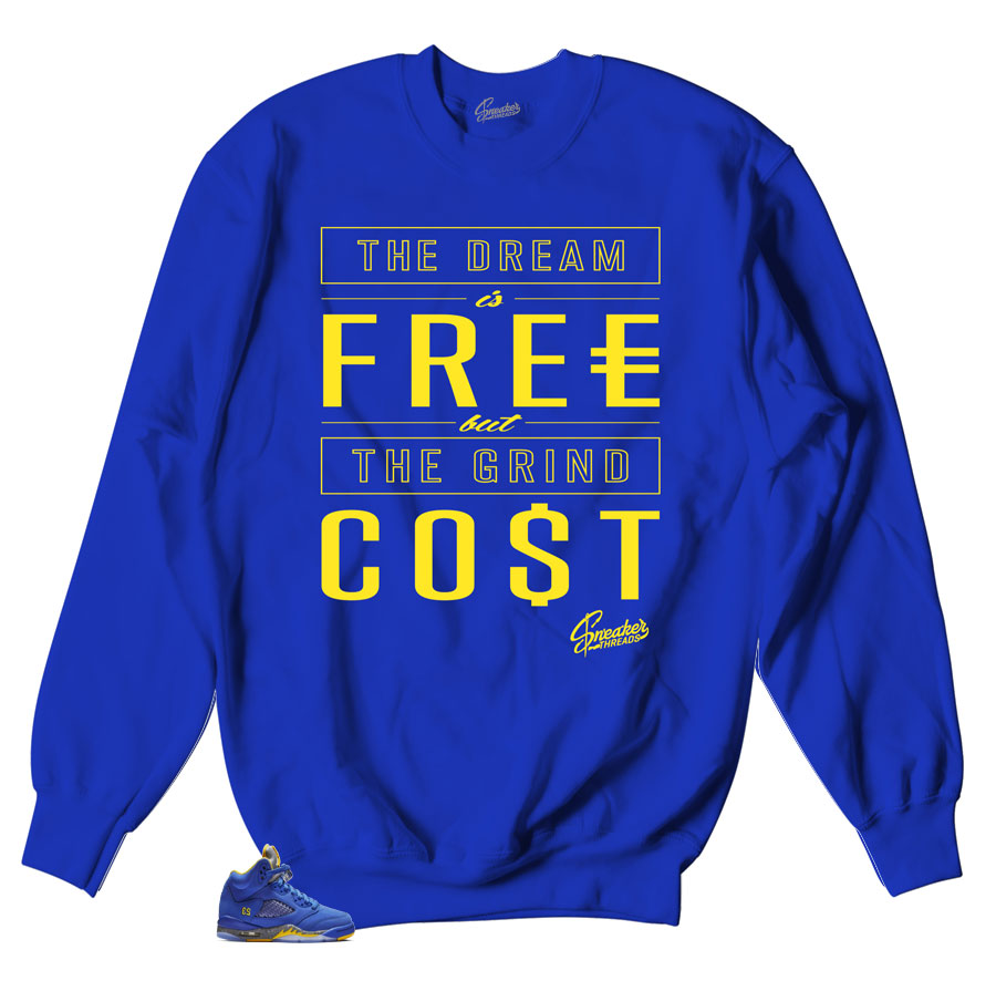 Sweater made to match Jordan 5 retro sneaker reverse Laney collection