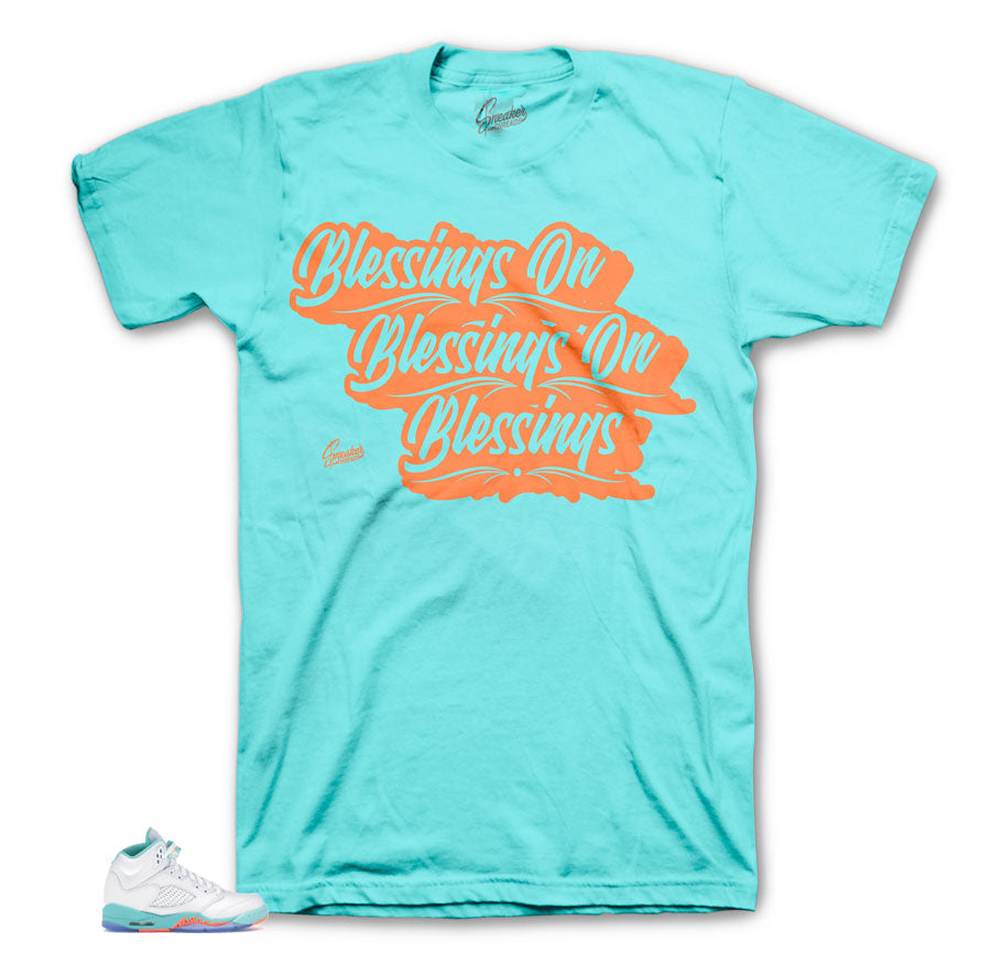 Jordan 5 Light Aqua Blessings tee