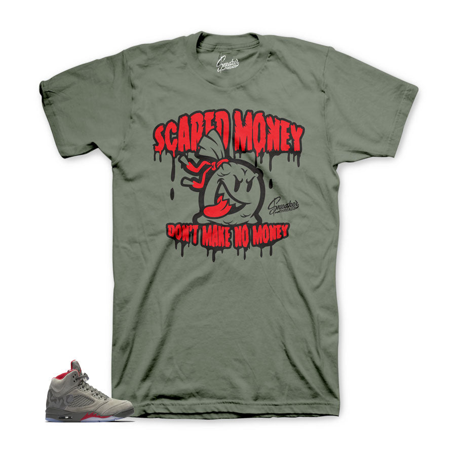 Jordan 5 camo teess match | Sneaker match dark stucco shirts.