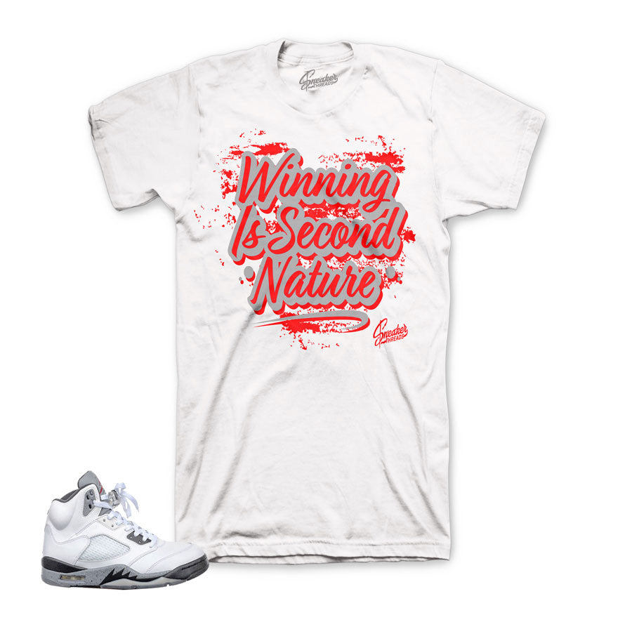 Jordan 5 white cement tee match | Official retro 5 clothing