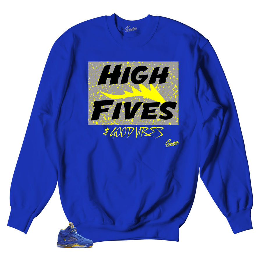 Retro sneaker Jordan 5 reverse Laney has matching sweater made to match reverse Laney sneakers
