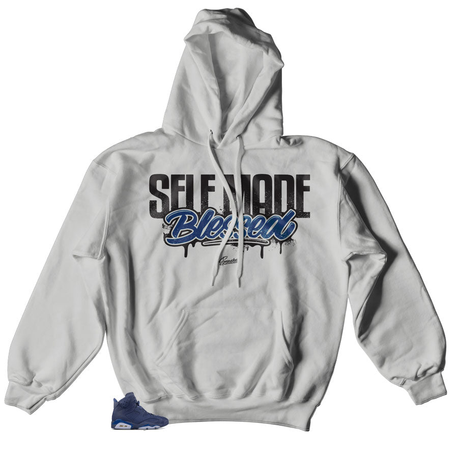 18268f0e0528 Home Jordan 6 Diffused Blue Hoody - Self Made - Silver. Share