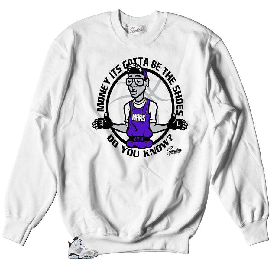 crewneck sweater made to match Jordan 6 concord flint sneakers