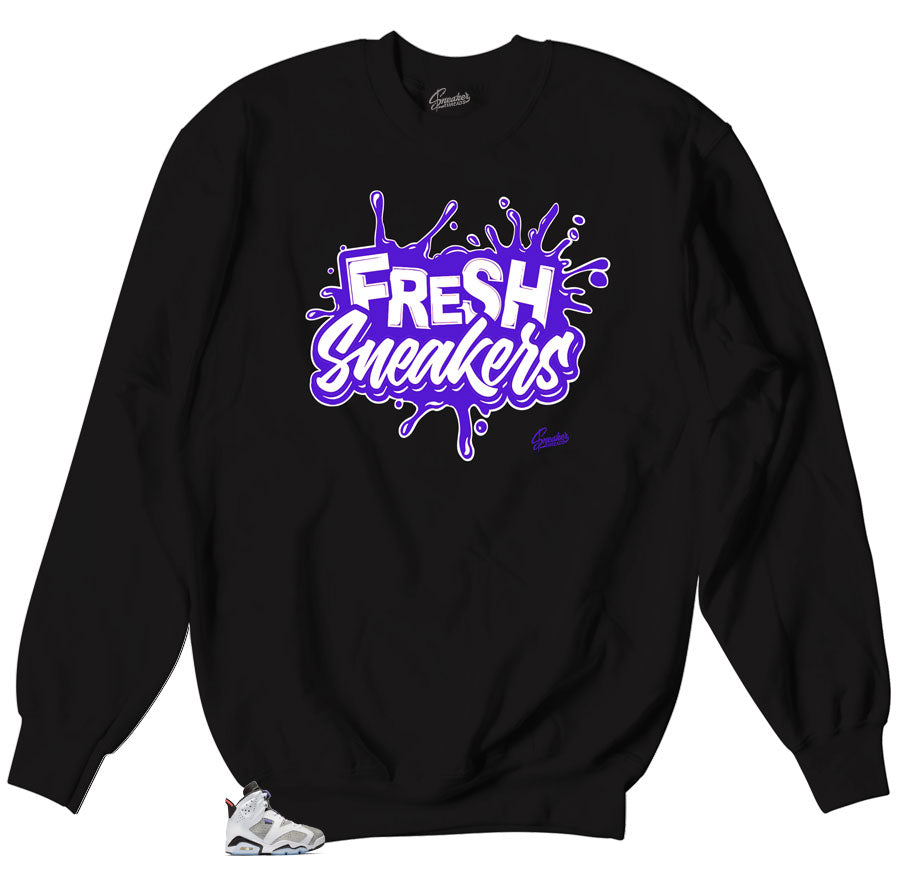 Crewneck sweater collection matches Jordan 6 flint sneakers