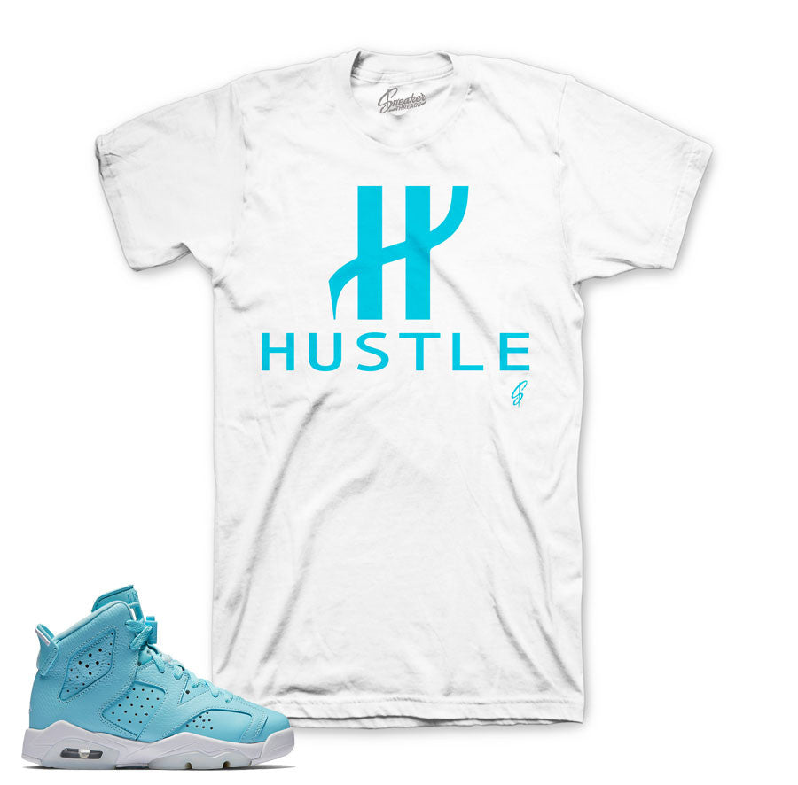 Jordan 6 still blue shirts match retro 6's shoes tees.