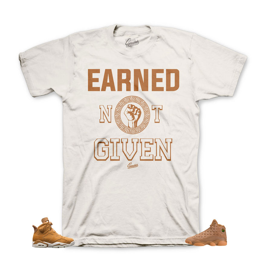 Wheat shirts match Jordan retro 6, 13, 1 shoes |  Earned Tee.