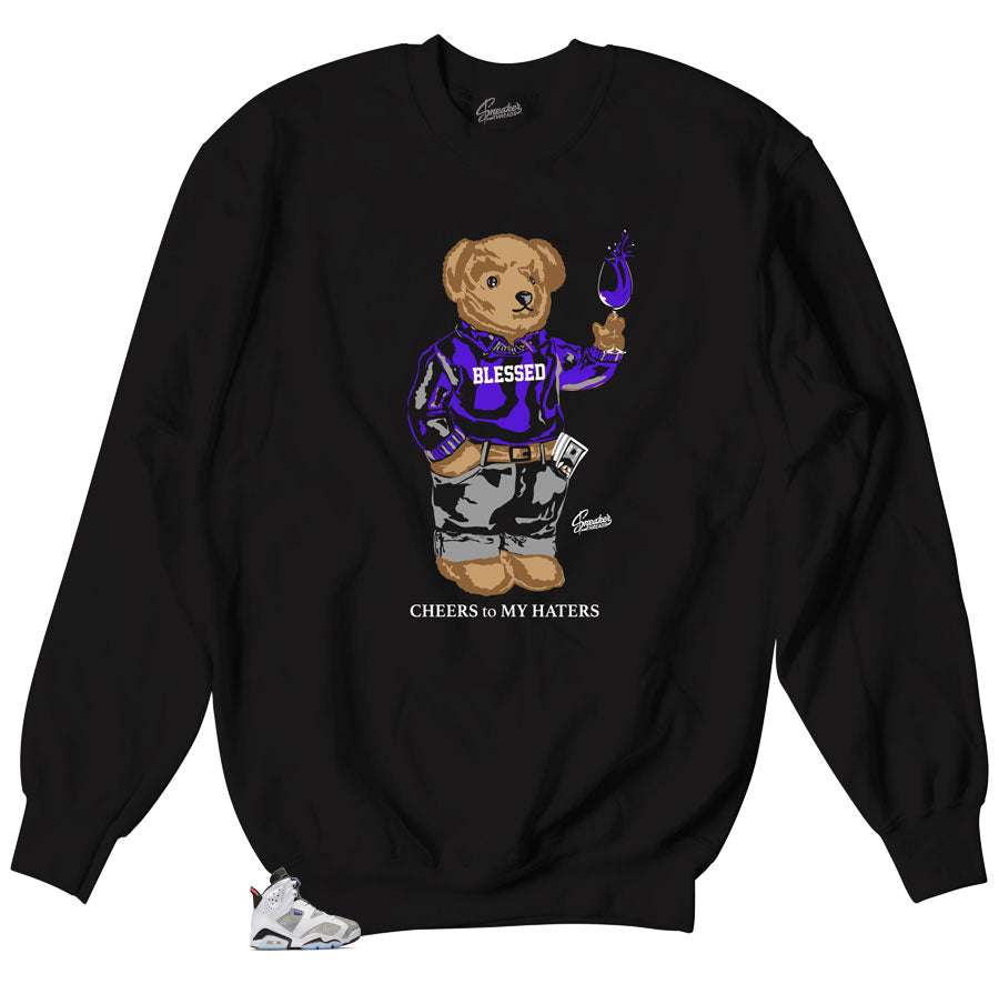 Sweater designed to match Jordan 6 concord flint sneakers