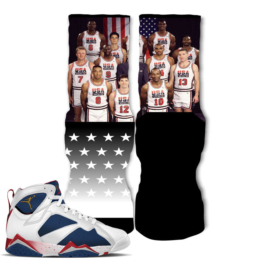 Elite socks match jordan 7 tinker alternate retro 7 olympic sock.