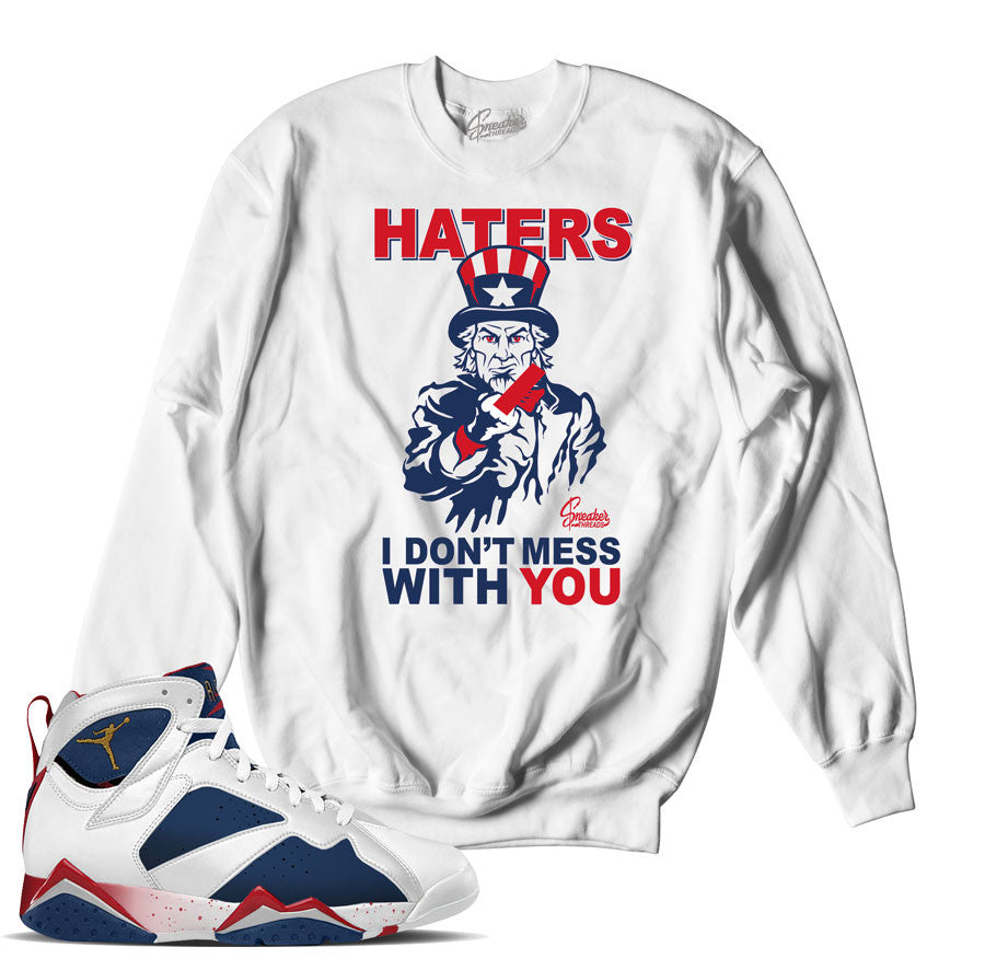 Jordan 7 tinker alternate sweaters match retro 7 olympic crewneck.