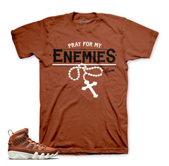 Jordan 9 baseball glove tee match hazelnut retro 9 sneakers.