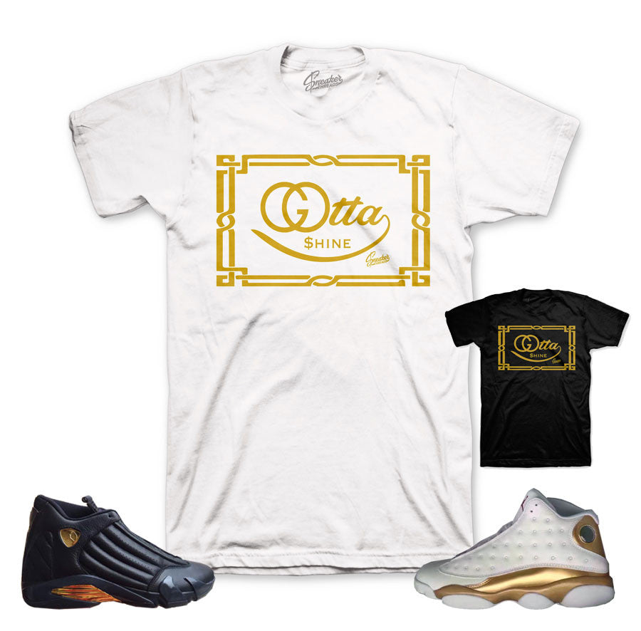 Jordan 13 And 14 defining moments pack shirt match DMP tee.