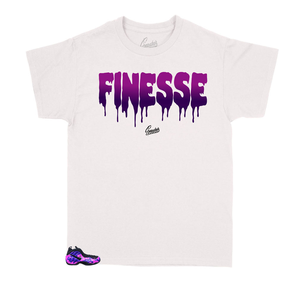 Foamposite Purple Cam sneakers have matching shirts for kids