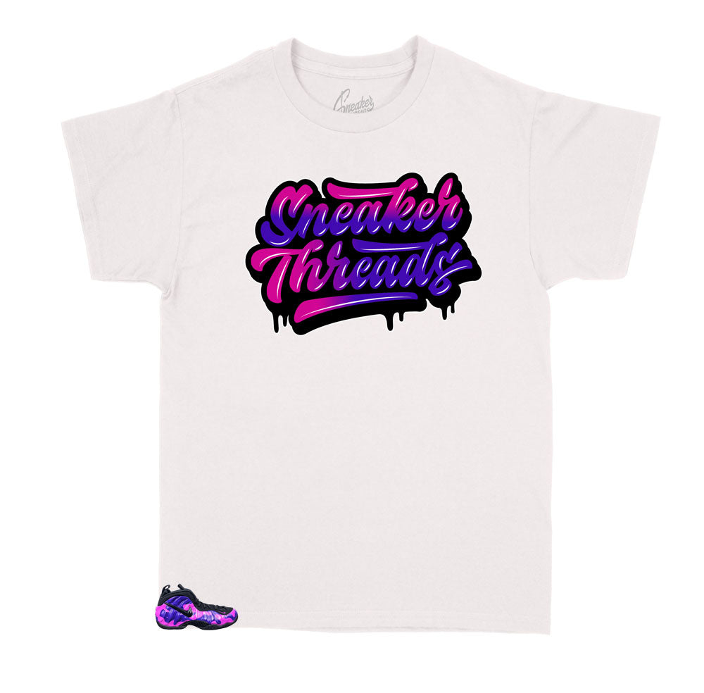 Kids tee collection designed to match the camo purple foamposite sneakers