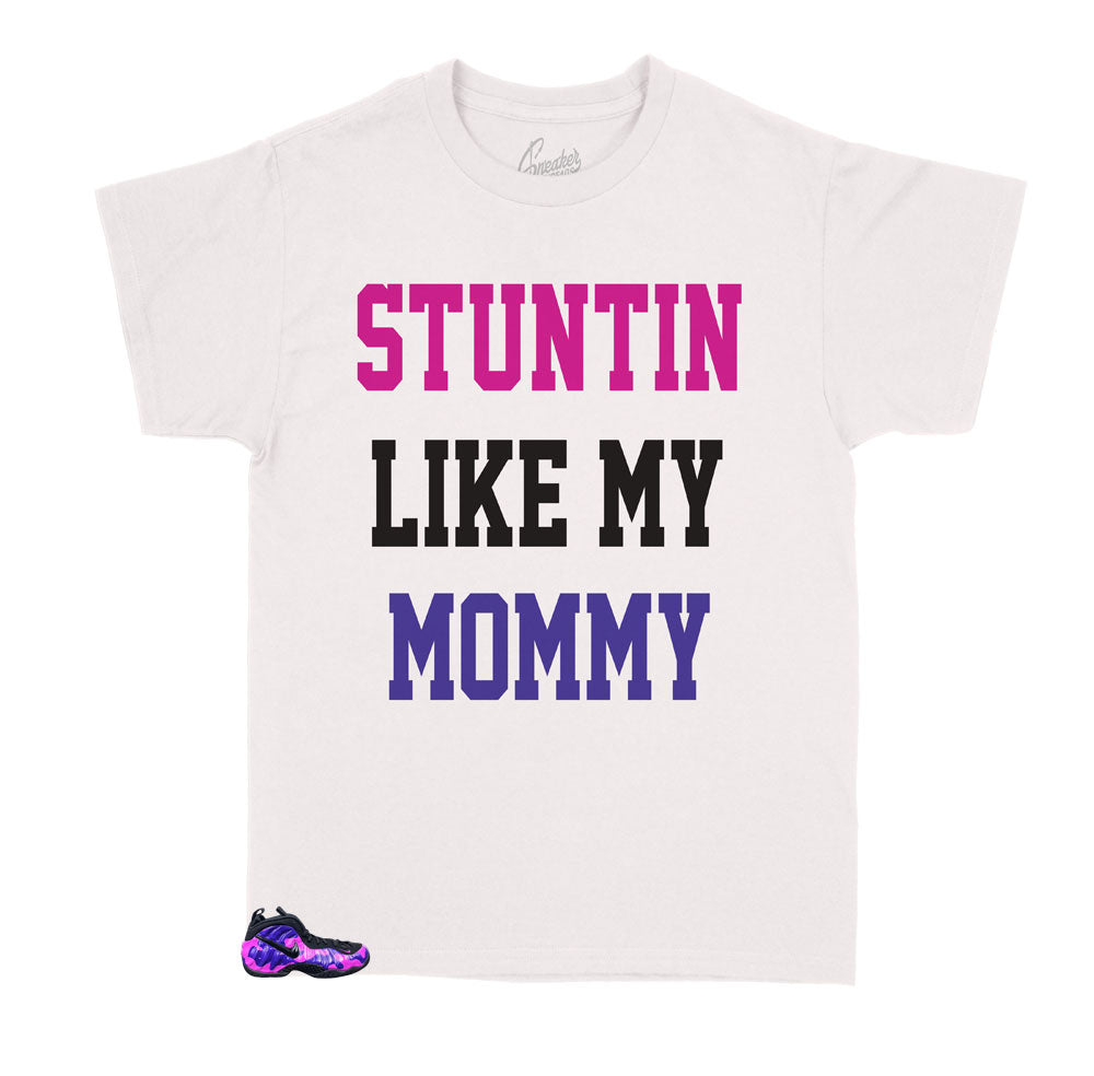 kids t shirts made to match perfectly with the kids foamposite purple camo sneakers