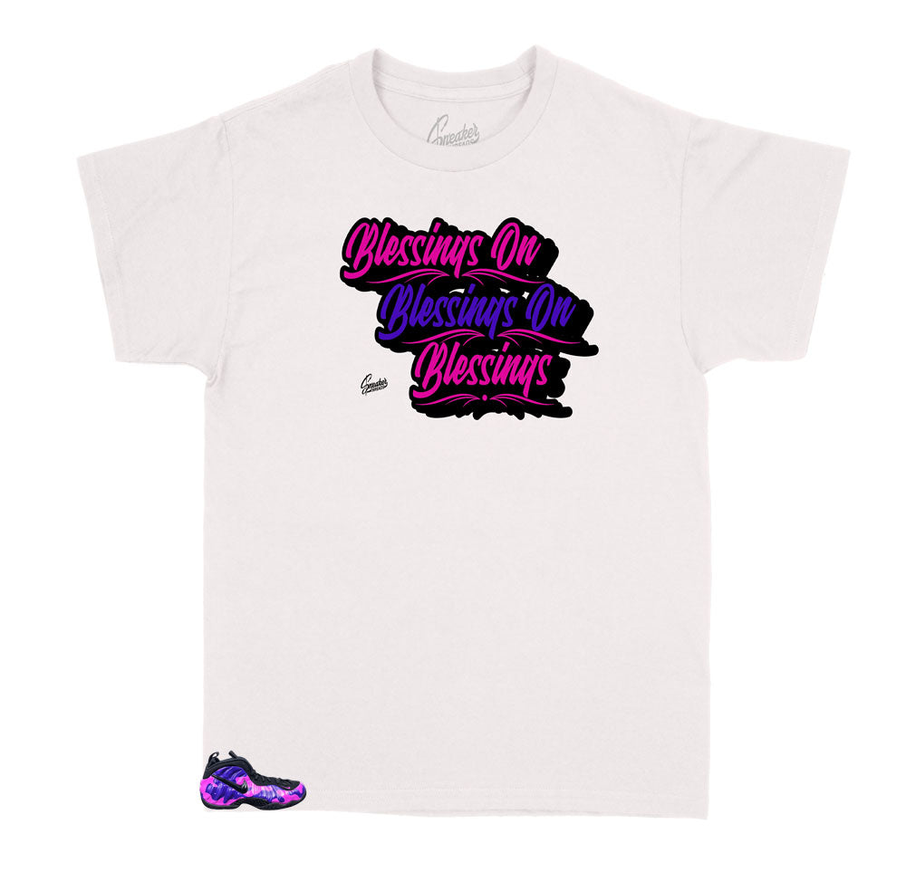 kids sneakers camo foamposite purple has matching kids shirts designed perfectly