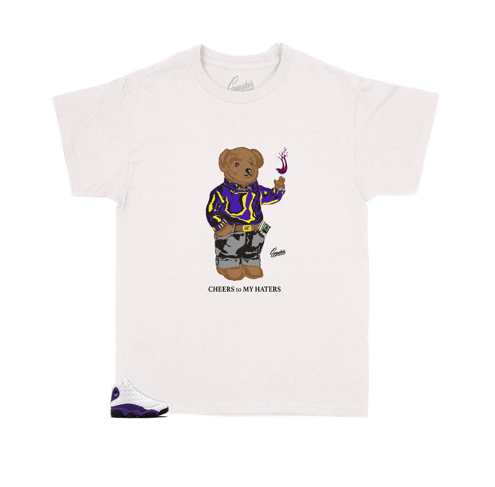 Jordan 13 Lakers Cheers Bear tee for kids fits