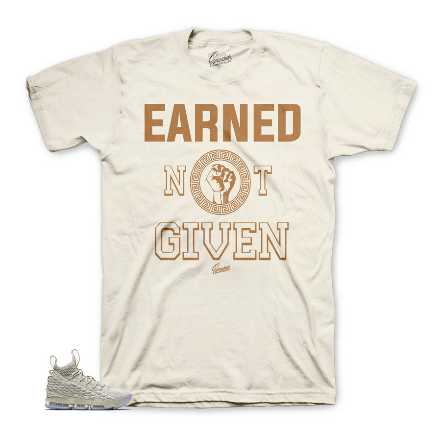 Lebron 15 ghost tee shirts match vachetta tan Lebron 15 shoes.