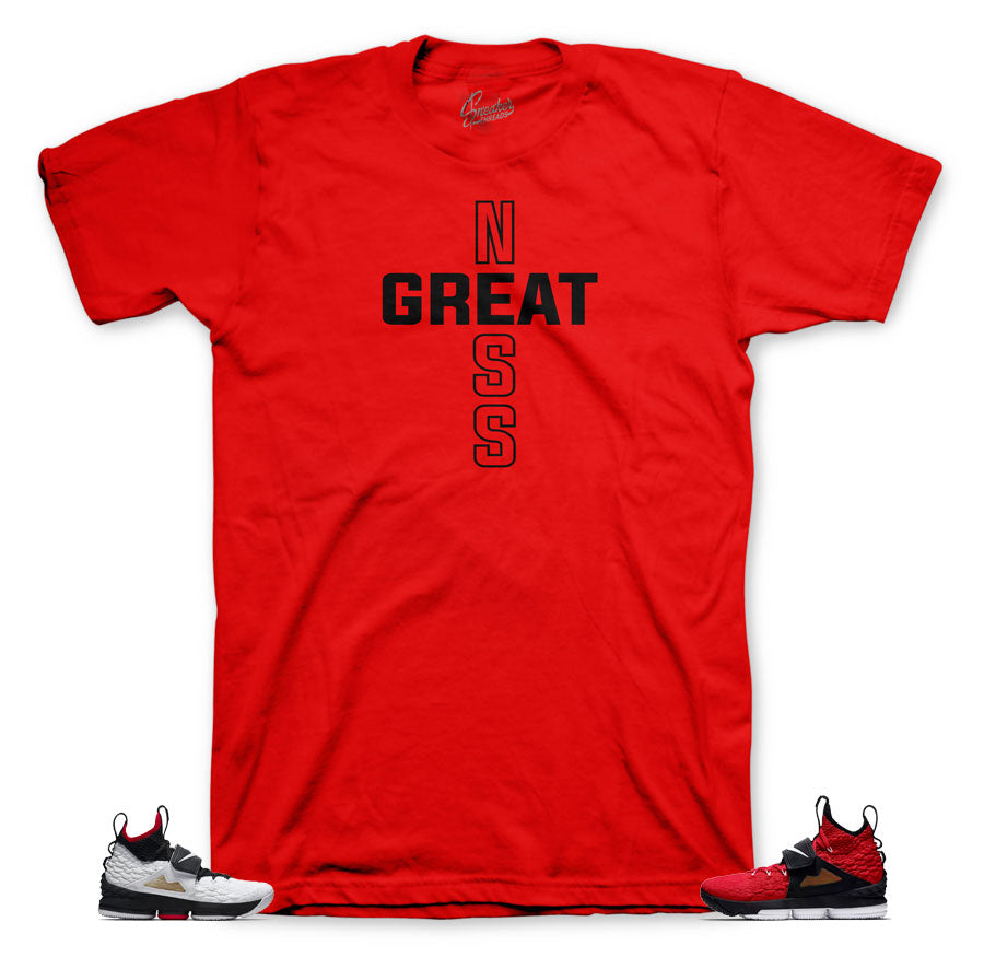 Lebron 15 sneaker matching tees for red diamond turf shoes.