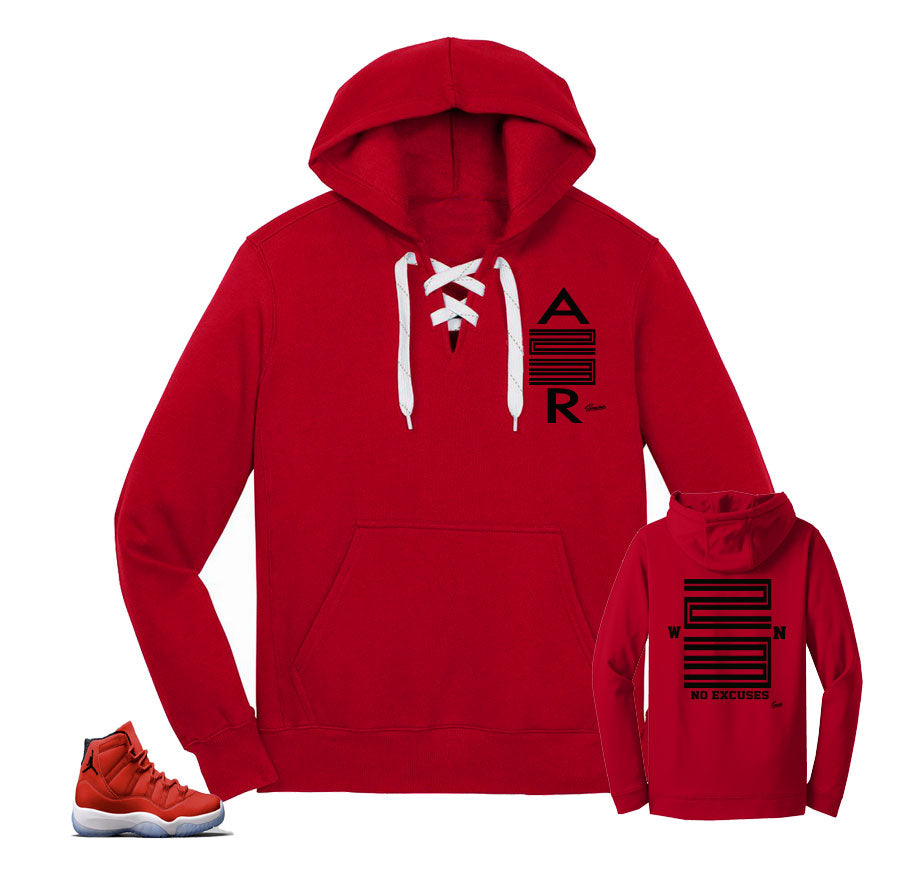 Jordan 11 win like 96 laces hoody to match gym red 11's.