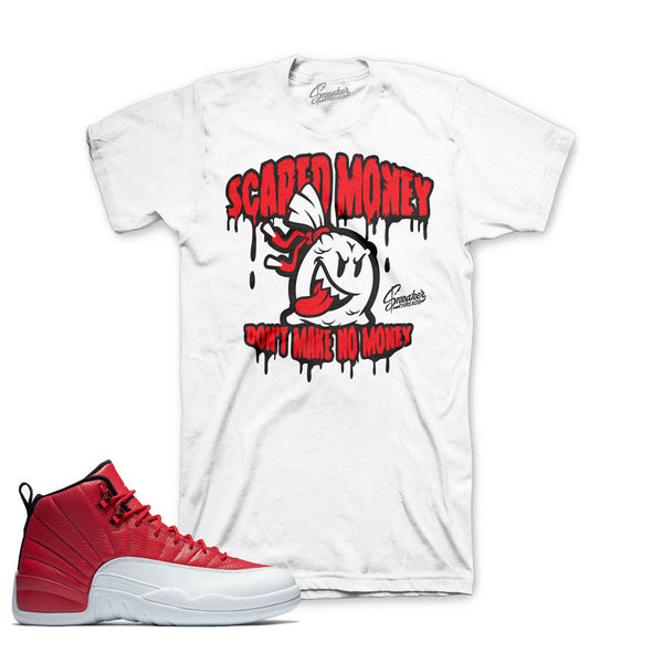 Jordan 12 Gym Red Shirt - Scared Money - White