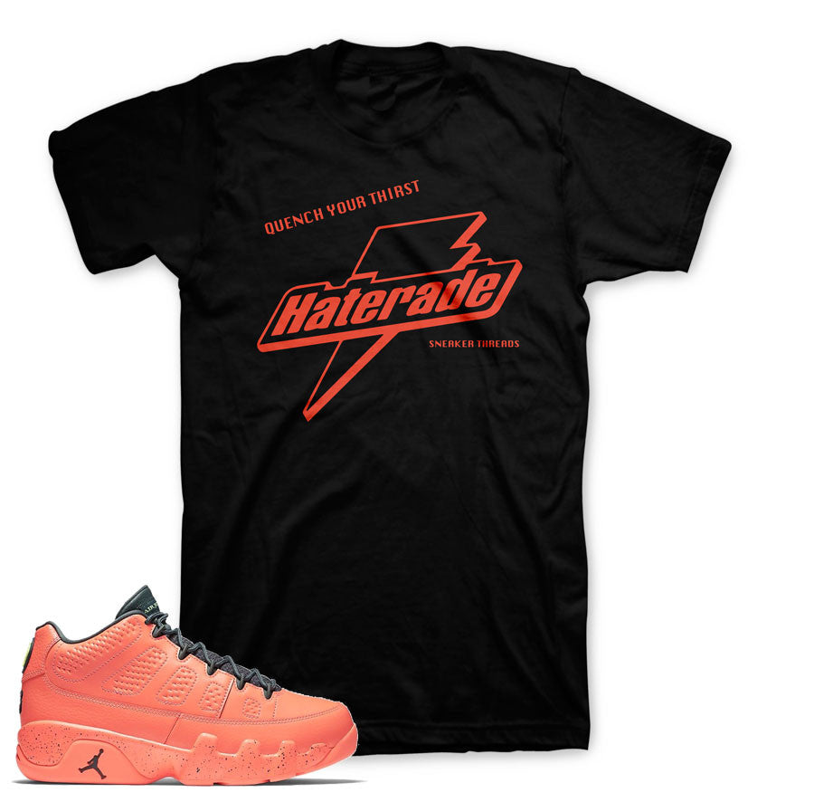 Shirts match Jordan 9 bright mango retro 9's sneaker tees.