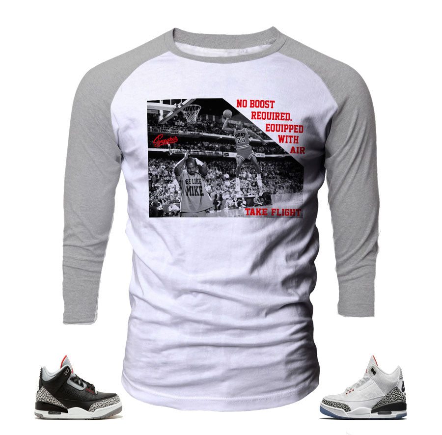 Jordan 3 black cement raglan shirts match retro 3 sneakers.