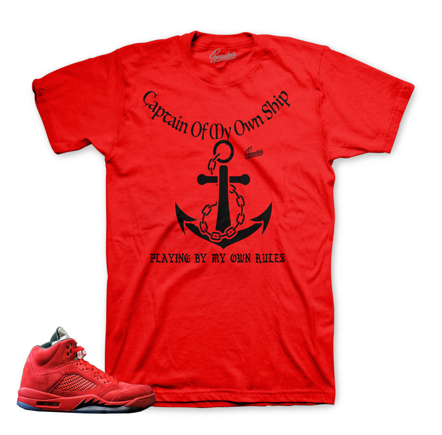 5c6a0126750e6c Home Jordan 5 Red Suede Shirt - My Rules - Red. Share