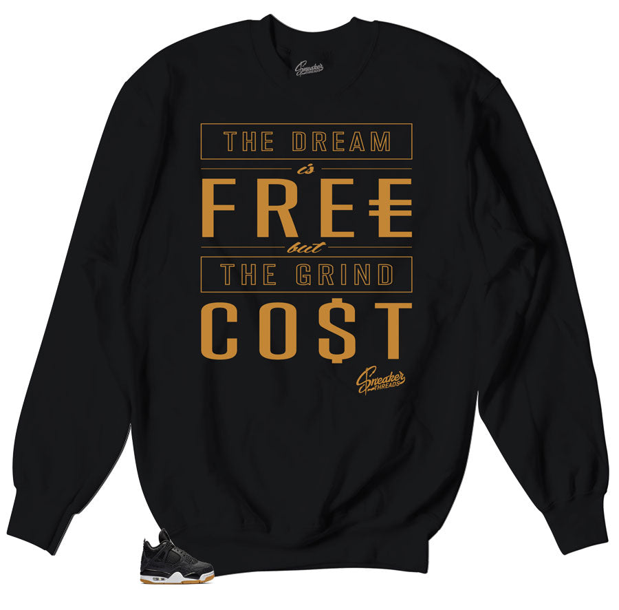 Crewneck sweater collection designed to match retro Jordan 4 Sneaker black gum collection