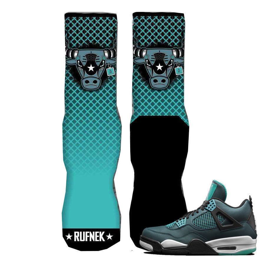 ce862ed4a41 Socks match jordan retro 4 teal sneaker teal 4 war bully elite socks.