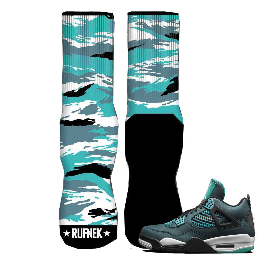 Jordan 4 Teal Elite Socks - Tigerstripe Camo