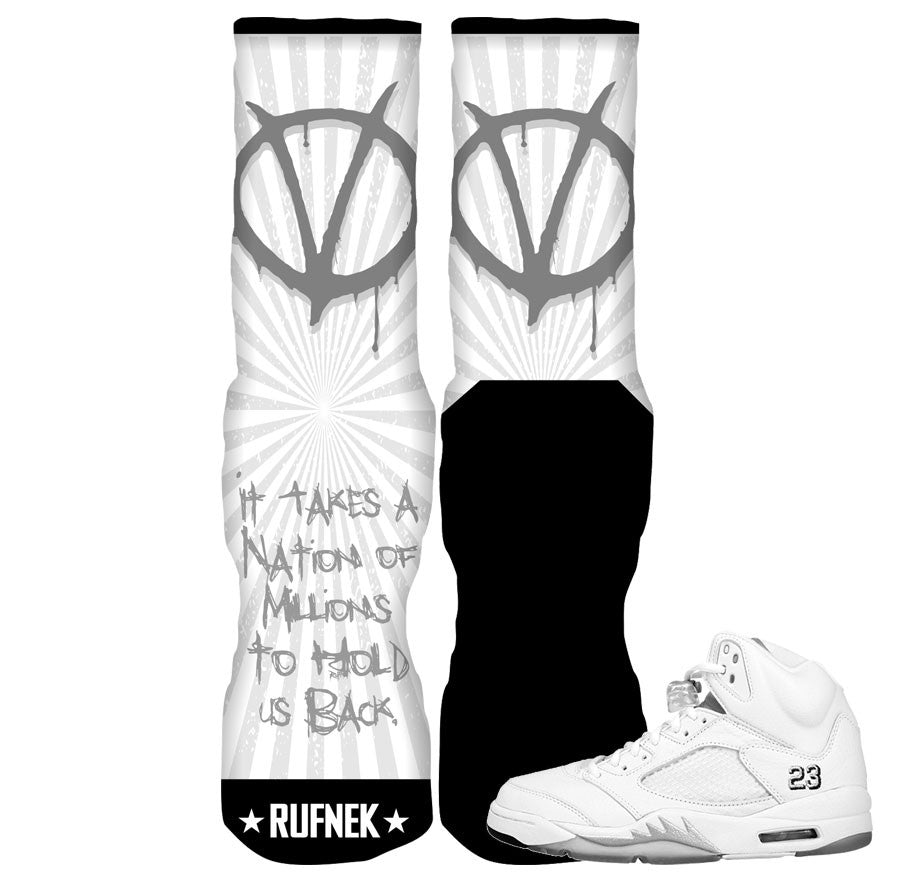 Jordan 5 White Metallic Elite Socks - Can't Hold Us Back