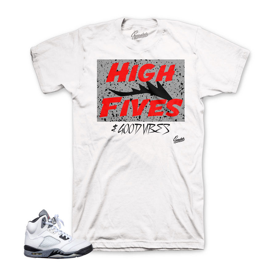 Jordan 5 cement tee match retro 5s sneaker clothing match cement 5.
