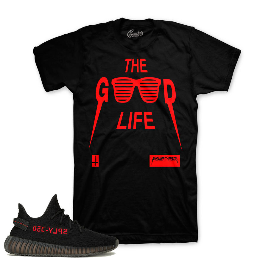 Tee match yeezy boost core red yeezy sneaker match shirt.