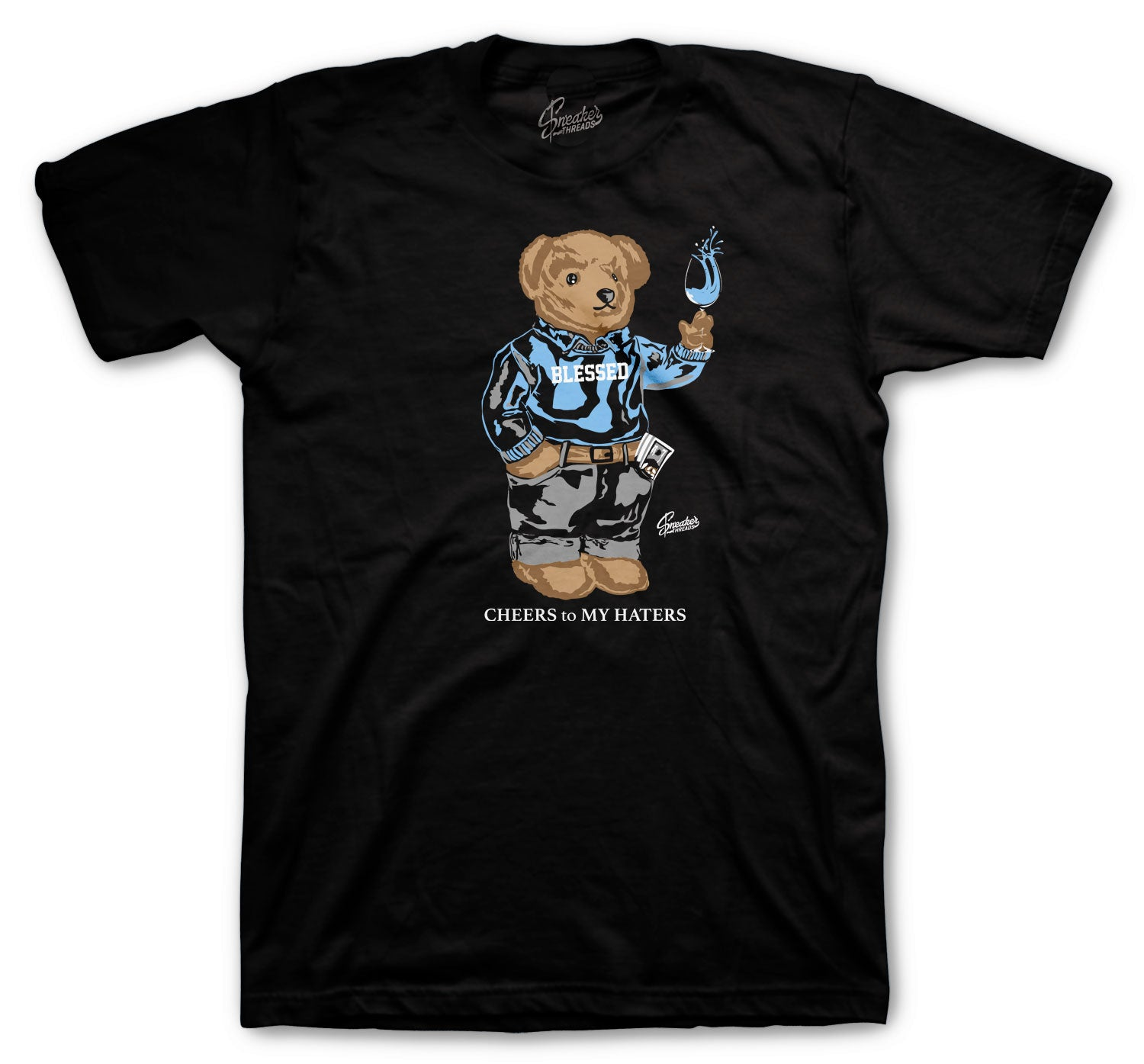 Jordan 1 Uni Blue Shirt - Cheers Bear - Black